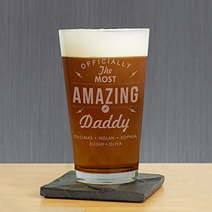 Personalized Most Amazing Daddy Glass | Bar Gifts for Dad