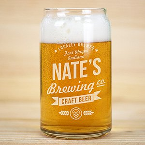 Engraved Craft Beer Brewing Co. Beer Can Glass