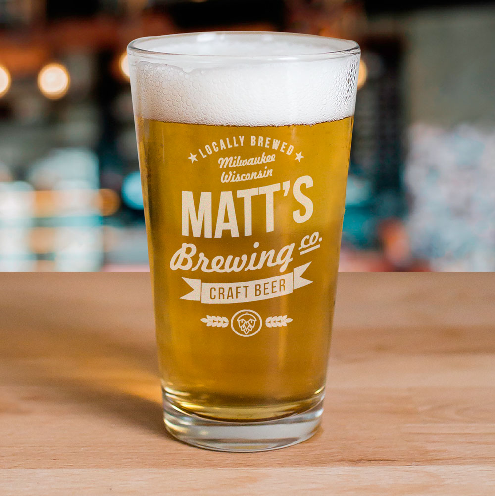 Engraved Craft Beer Brewing Co. Glass | Personalized Barware