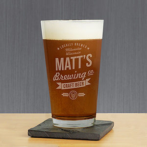 Engraved Craft Beer Brewing Co. Glass