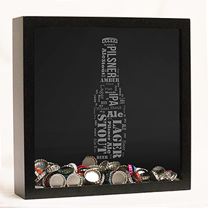 Engraved Beer Bottle Word-Art Shadow Box