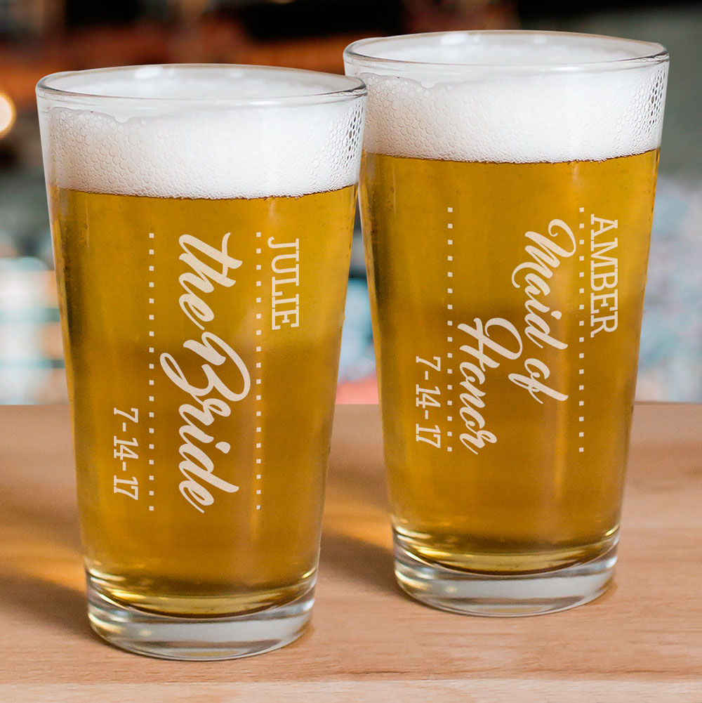 Personalized Bridal Party Beer Glass | Bridesmaid Glasses