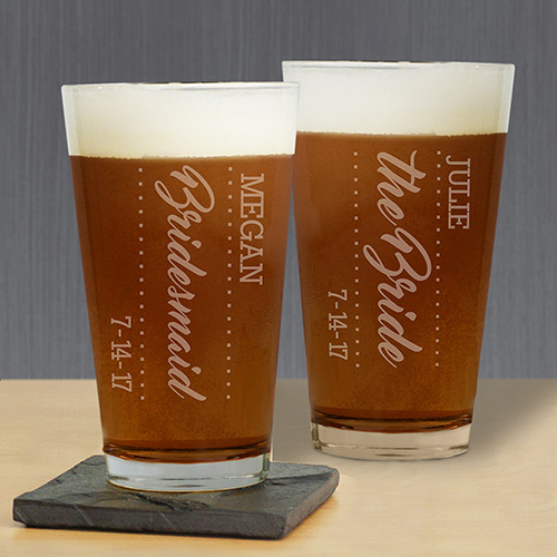 Personalized Bridal Party Beer Glass L10395142