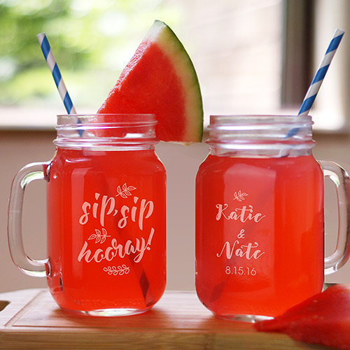 Engraved Sip, Sip, Hooray Wedding Mason Jar L1039671