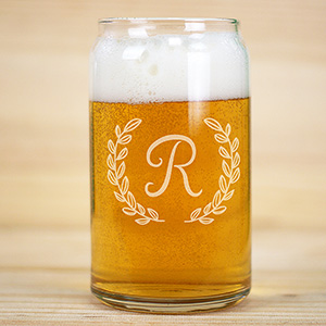Engraved Single Initial Beer Can Glass L10417118
