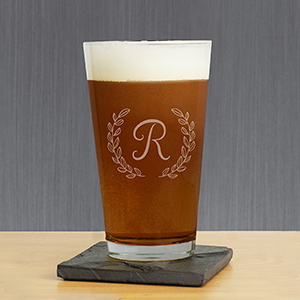 Engraved Single Initial Beer Glass