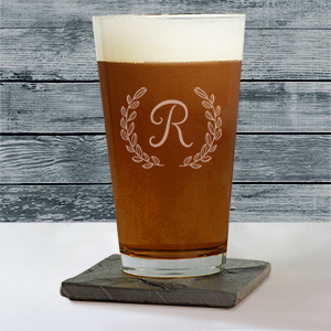 Engraved Single Initial Beer Glass L10417142