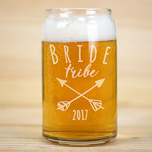 Engraved Bride Tribe Beer Can Glass