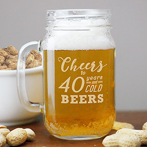 Engraved Cheers to Mason Jar