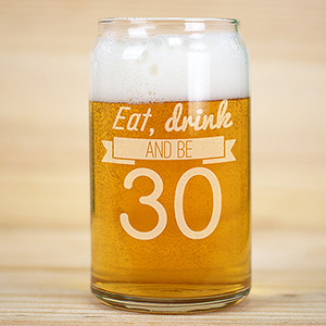 Engraved Eat,Drink Birthday Beer Glass L10529118