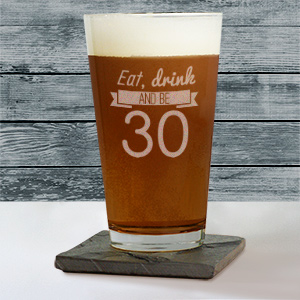 Engraved Eat, Drink Birthday Beer Glass L10529142