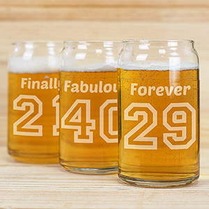 Engraved Birthday Message Beer Can Glass