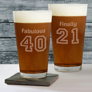 Engraved Birthday Message Beer Glass L10531142