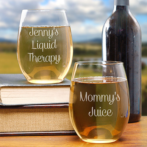 Engraved Any Message Stemless Wine Glass L1055095