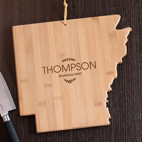Personalized Family Name Arkansas State Cutting Board | Personalized Cutting Boards
