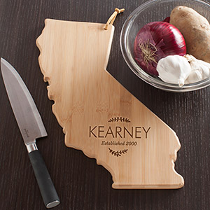 Personalized Family Name California State Cutting Board