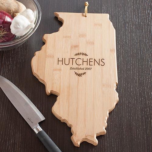 Personalized Family Name Illinois State Cutting Board | Personalized Cutting Boards