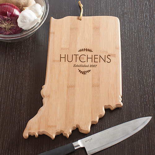 Personalized Family Name Indiana State Cutting Board | Personalized Cutting Board