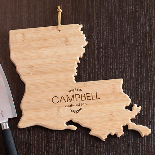 Personalized Family Name Louisiana State Cutting Board | Personalized Cutting Board