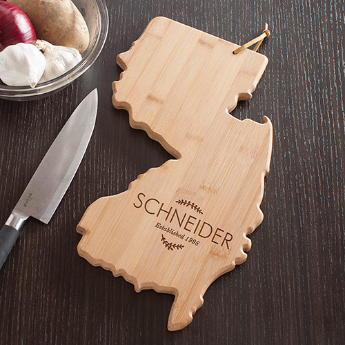 Personalized Family Name New Jersey State Cutting Board | Personalized Cutting Boards