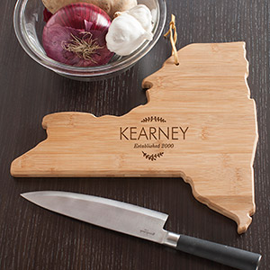 Personalized Family Name New York State Cutting Board