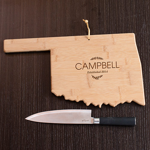 Personalized Family Name Oklahoma State Cutting Board | Personalized Cutting Boards