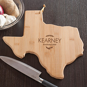 Personalized Family Name Texas State Cutting Board