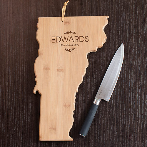Personalized Family Name Vermont State Cutting Board | Personalized Cutting Board