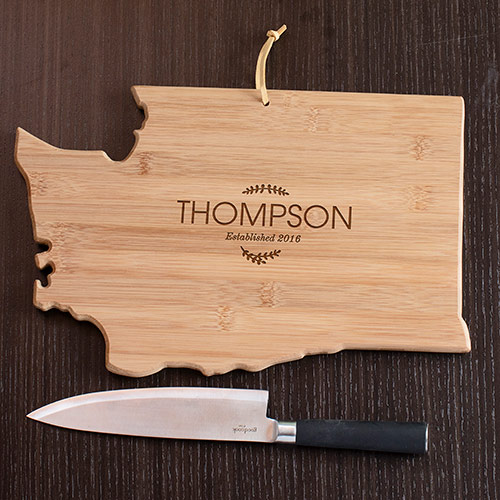 Personalzied Family Name Washington State Cutting Board | Personalized Cutting Board