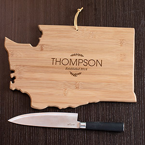 Personalzied Family Name Washington State Cutting Board L10621165WA