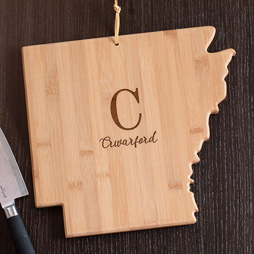 Personalized Family Initial Arkansas State Cutting Board | Personalized Cutting Boards