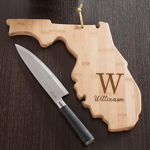 Personalized Family Initial Florida State Cutting Board | Personalized Cutting Boards