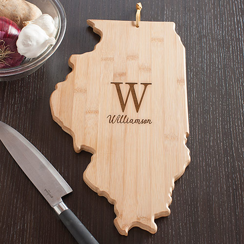 Personalized Family Initial Illinois State Cutting Board | Personalized Cutting Boards