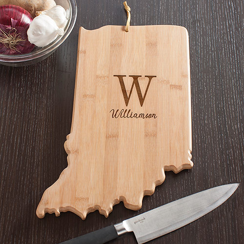 Personalized Family Initial Indiana State Cutting Board | Personalized Cutting Board