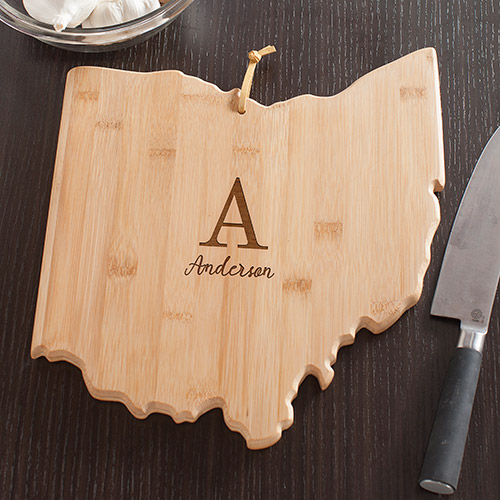 Personalized Family Initial Ohio State Cutting Board | Personalized Cutting Boards