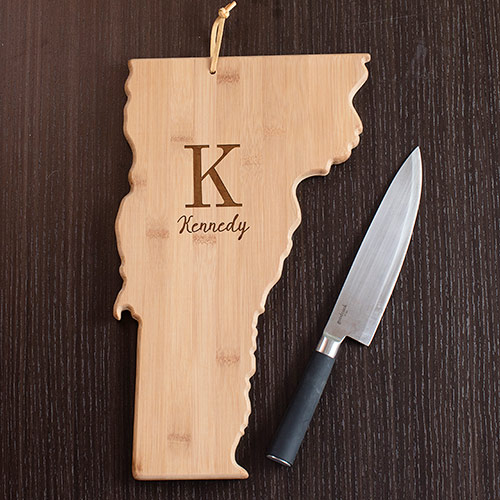 Personalized Family Initial Vermont State Cutting Board | Personalized Cutting Boards