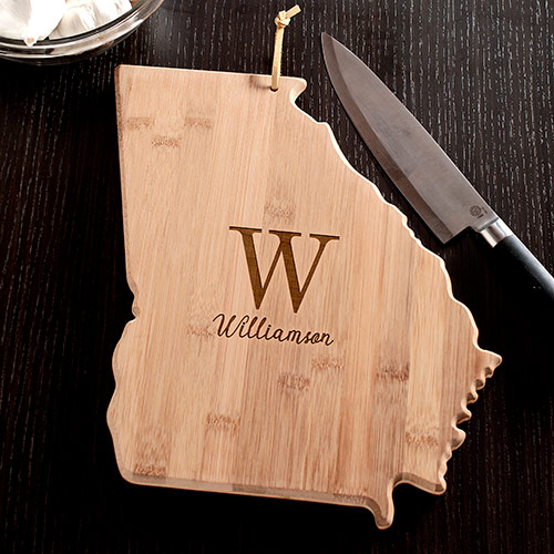 Personalized Family Initial Georgia State Cutting Board | Personalized Cutting Board