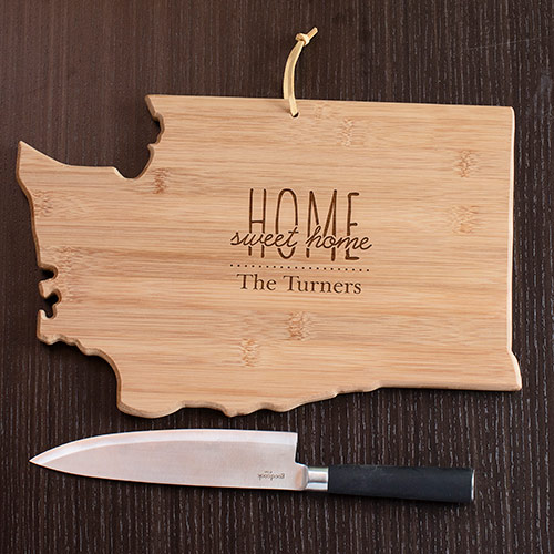 Personalized Home Sweet Home Washington State Cutting Board | Personalized Cutting Boards