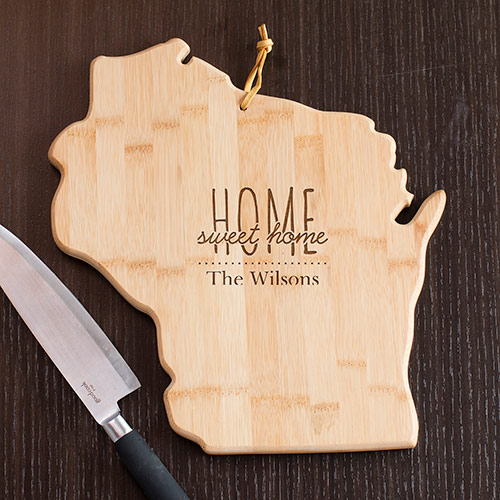 Personalized Home Sweet Home Wisconsin State Cutting | Personalized Cutting Board