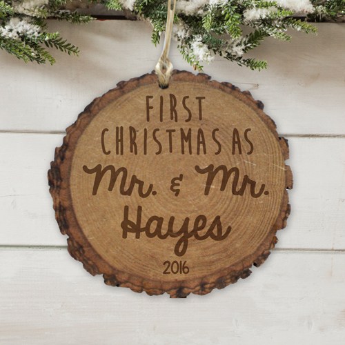 Engraved First Mr. & Mrs. Rustic Wood Ornament L10637166