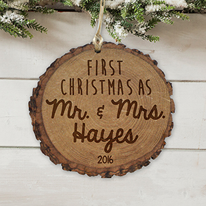 Engraved First Mr. & Mrs. Rustic Wood Ornament