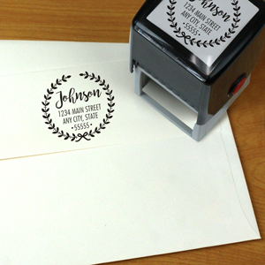Personalized Laurel Wreath Square Rubber Stamper | Personalized Address Stamp
