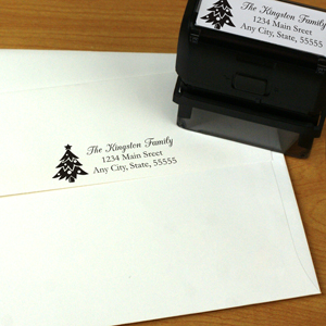 Personalized Christmas Tree Rectangular Rubber Stamper | Personalized Address Stamp