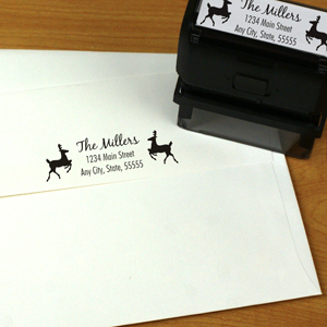 Personalized Reindeer Rectangular Rubber Stamper | Personalized Address Stamp