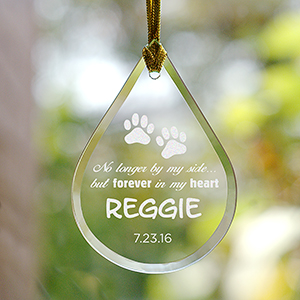 Engraved Pet Memorial Tear Drop Glass Ornament | Memorial Ornaments