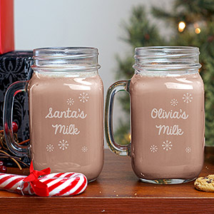 Engraved Milk With Santa Mason Jar | Personalized Mason Jar Mug