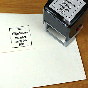 Family Self Inking Square Address Stamper L10835177