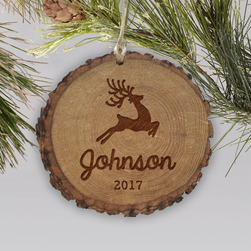 Engraved Reindeer Family Rustic Wood Ornament | Personalized Ornaments