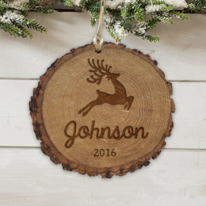 Engraved Reindeer Family Rustic Wood Ornament L10856166