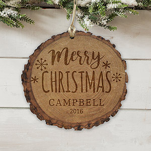 Engraved Merry Christmas Rustic Wood Ornament L10857166